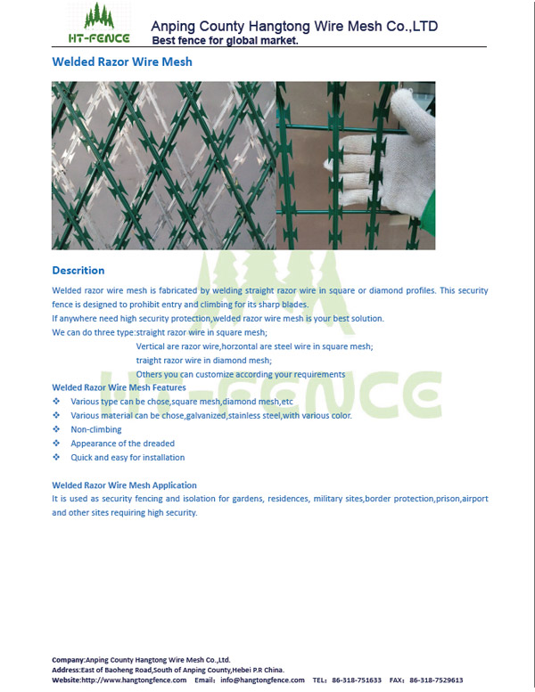 Welded razor wire mesh