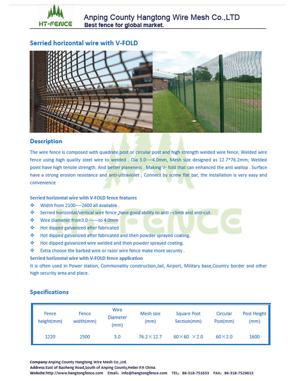 Serrried horizontal wire with Curved type security fence