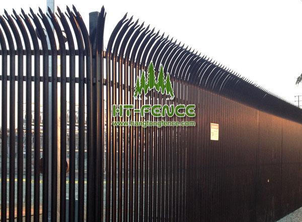 Bent top palisade fence